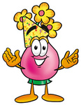 Clip Art Graphic of a Pink Vase And Yellow Flowers Cartoon Character Wearing a Birthday Party Hat