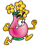 Clip Art Graphic of a Pink Vase And Yellow Flowers Cartoon Character Running