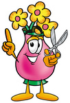 Clip Art Graphic of a Pink Vase And Yellow Flowers Cartoon Character Holding a Pair of Scissors