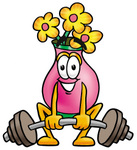 Clip Art Graphic of a Pink Vase And Yellow Flowers Cartoon Character Lifting a Heavy Barbell