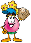 Clip Art Graphic of a Pink Vase And Yellow Flowers Cartoon Character Catching a Baseball With a Glove