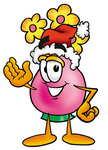 Clip Art Graphic of a Pink Vase And Yellow Flowers Cartoon Character Wearing a Santa Hat and Waving