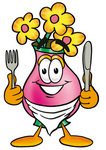 Clip Art Graphic of a Pink Vase And Yellow Flowers Cartoon Character Holding a Knife and Fork