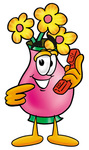 Clip Art Graphic of a Pink Vase And Yellow Flowers Cartoon Character Holding a Telephone