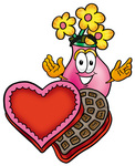 Clip Art Graphic of a Pink Vase And Yellow Flowers Cartoon Character With an Open Box of Valentines Day Chocolate Candies