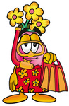 Clip Art Graphic of a Pink Vase And Yellow Flowers Cartoon Character in Orange and Red Snorkel Gear