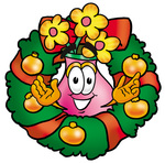 Clip Art Graphic of a Pink Vase And Yellow Flowers Cartoon Character in the Center of a Christmas Wreath