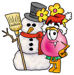 Clip Art Graphic of a Pink Vase And Yellow Flowers Cartoon Character With a Snowman on Christmas