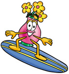 Clip Art Graphic of a Pink Vase And Yellow Flowers Cartoon Character Surfing on a Blue and Yellow Surfboard