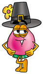 Clip Art Graphic of a Pink Vase And Yellow Flowers Cartoon Character Wearing a Pilgrim Hat on Thanksgiving