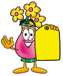 Clip Art Graphic of a Pink Vase And Yellow Flowers Cartoon Character Holding a Yellow Sales Price Tag