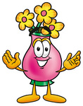 Clip Art Graphic of a Pink Vase And Yellow Flowers Cartoon Character With Welcoming Open Arms
