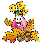 Clip Art Graphic of a Pink Vase And Yellow Flowers Cartoon Character With Autumn Leaves and Acorns in the Fall