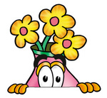 Clip Art Graphic of a Pink Vase And Yellow Flowers Cartoon Character Peeking Over a Surface