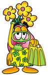Clip Art Graphic of a Pink Vase And Yellow Flowers Cartoon Character in Green and Yellow Snorkel Gear