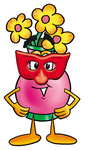 Clip Art Graphic of a Pink Vase And Yellow Flowers Cartoon Character Wearing a Red Mask Over His Face