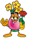 Clip Art Graphic of a Pink Vase And Yellow Flowers Cartoon Character Holding a Red Rose on Valentines Day