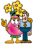Clip Art Graphic of a Pink Vase And Yellow Flowers Cartoon Character Talking to a Business Man