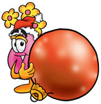 Clip Art Graphic of a Pink Vase And Yellow Flowers Cartoon Character Wearing a Santa Hat, Standing With a Christmas Bauble