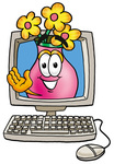 Clip Art Graphic of a Pink Vase And Yellow Flowers Cartoon Character Waving From Inside a Computer Screen
