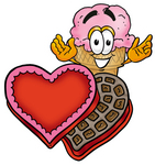Clip Art Graphic of a Strawberry Ice Cream Cone Cartoon Character With an Open Box of Valentines Day Chocolate Candies