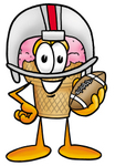 Clip Art Graphic of a Strawberry Ice Cream Cone Cartoon Character in a Helmet, Holding a Football