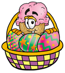 Clip Art Graphic of a Strawberry Ice Cream Cone Cartoon Character in an Easter Basket Full of Decorated Easter Eggs
