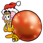 Clip Art Graphic of a Strawberry Ice Cream Cone Cartoon Character Wearing a Santa Hat, Standing With a Christmas Bauble