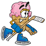 Clip Art Graphic of a Strawberry Ice Cream Cone Cartoon Character Playing Ice Hockey