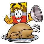 Clip Art Graphic of a Red Paintbrush With Yellow Paint Cartoon Character Serving a Thanksgiving Turkey on a Platter