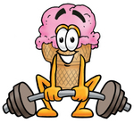 Clip Art Graphic of a Strawberry Ice Cream Cone Cartoon Character Lifting a Heavy Barbell