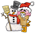 Clip Art Graphic of a Strawberry Ice Cream Cone Cartoon Character With a Snowman on Christmas