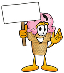 Clip Art Graphic of a Strawberry Ice Cream Cone Cartoon Character Holding a Blank Sign