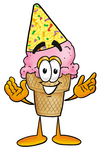 Clip Art Graphic of a Strawberry Ice Cream Cone Cartoon Character Wearing a Birthday Party Hat