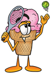 Clip Art Graphic of a Strawberry Ice Cream Cone Cartoon Character Preparing to Hit a Tennis Ball