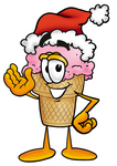 Clip Art Graphic of a Strawberry Ice Cream Cone Cartoon Character Wearing a Santa Hat and Waving