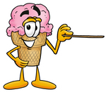 Clip Art Graphic of a Strawberry Ice Cream Cone Cartoon Character Holding a Pointer Stick