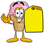 Clip Art Graphic of a Strawberry Ice Cream Cone Cartoon Character Holding a Yellow Sales Price Tag