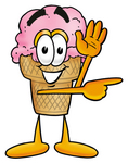 Clip Art Graphic of a Strawberry Ice Cream Cone Cartoon Character Waving and Pointing