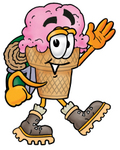 Clip Art Graphic of a Strawberry Ice Cream Cone Cartoon Character Hiking and Carrying a Backpack