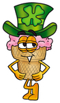 Clip Art Graphic of a Strawberry Ice Cream Cone Cartoon Character Wearing a Saint Patricks Day Hat With a Clover on it