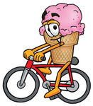 Clip Art Graphic of a Strawberry Ice Cream Cone Cartoon Character Riding a Bicycle