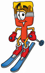 Clip Art Graphic of a Red Paintbrush With Yellow Paint Cartoon Character Skiing Downhill
