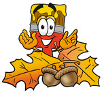 Clip Art Graphic of a Red Paintbrush With Yellow Paint Cartoon Character With Autumn Leaves and Acorns in the Fall