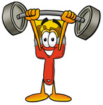 Clip Art Graphic of a Red Paintbrush With Yellow Paint Cartoon Character Holding a Heavy Barbell Above His Head