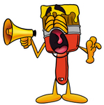 Clip Art Graphic of a Red Paintbrush With Yellow Paint Cartoon Character Screaming Into a Megaphone