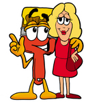 Clip Art Graphic of a Red Paintbrush With Yellow Paint Cartoon Character Talking to a Pretty Blond Woman