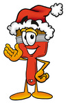 Clip Art Graphic of a Red Paintbrush With Yellow Paint Cartoon Character Wearing a Santa Hat and Waving