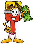 Clip Art Graphic of a Red Paintbrush With Yellow Paint Cartoon Character Holding a Dollar Bill
