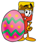 Clip Art Graphic of a Red Paintbrush With Yellow Paint Cartoon Character Standing Beside an Easter Egg